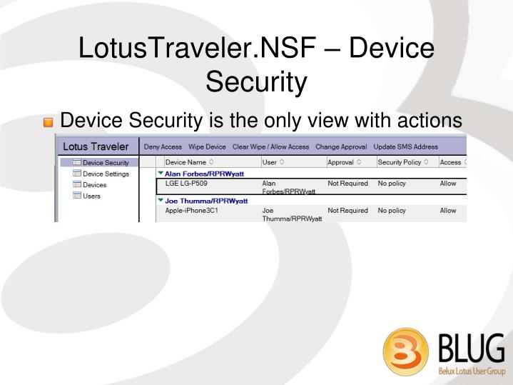 LotusTraveler.NSF – Device Security