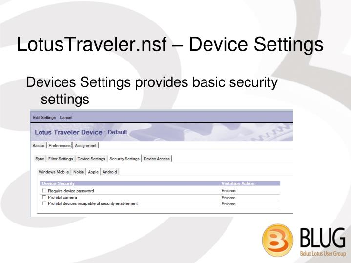 LotusTraveler.nsf – Device Settings