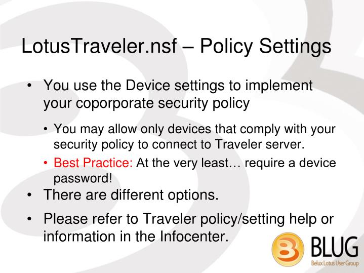 LotusTraveler.nsf – Policy Settings