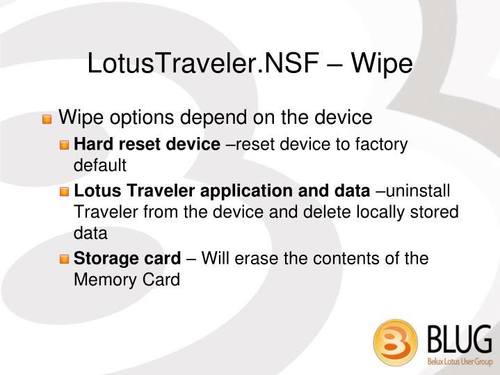 LotusTraveler.NSF – Wipe