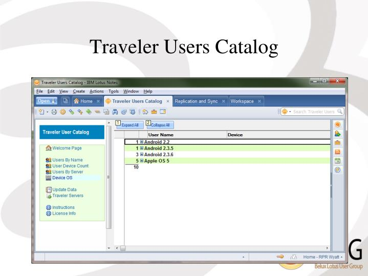 Traveler Users Catalog