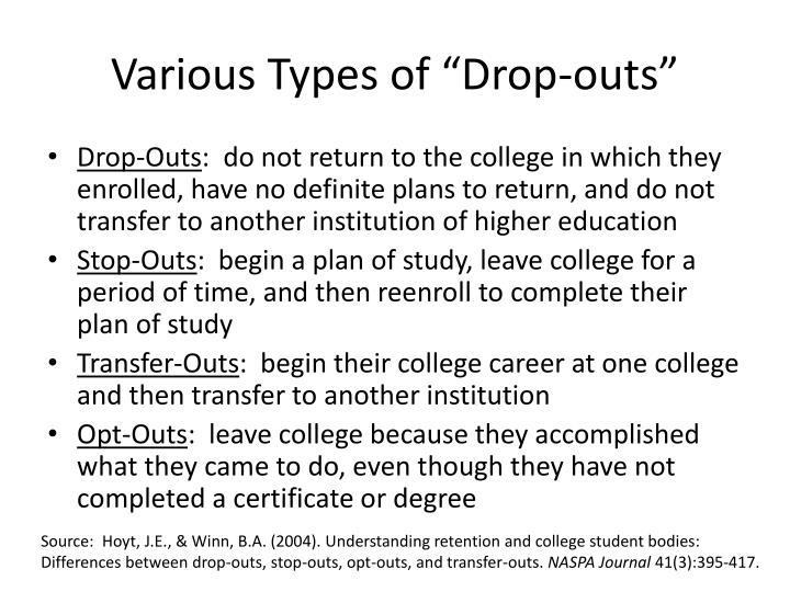 "Various Types of ""Drop-outs"""