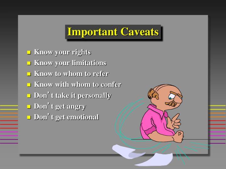 Important Caveats