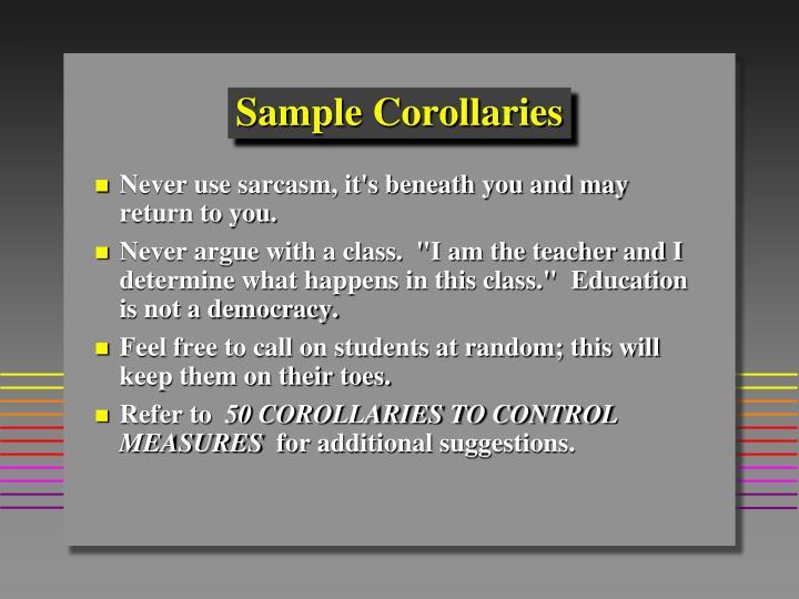 Sample Corollaries