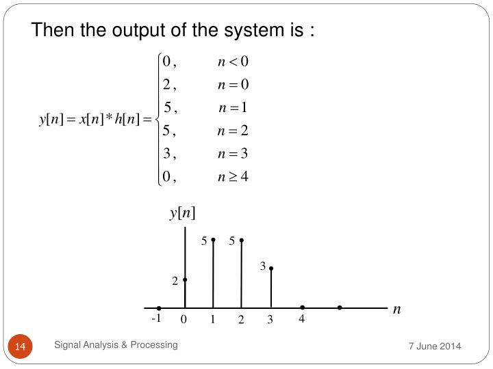 Then the output of the system is :