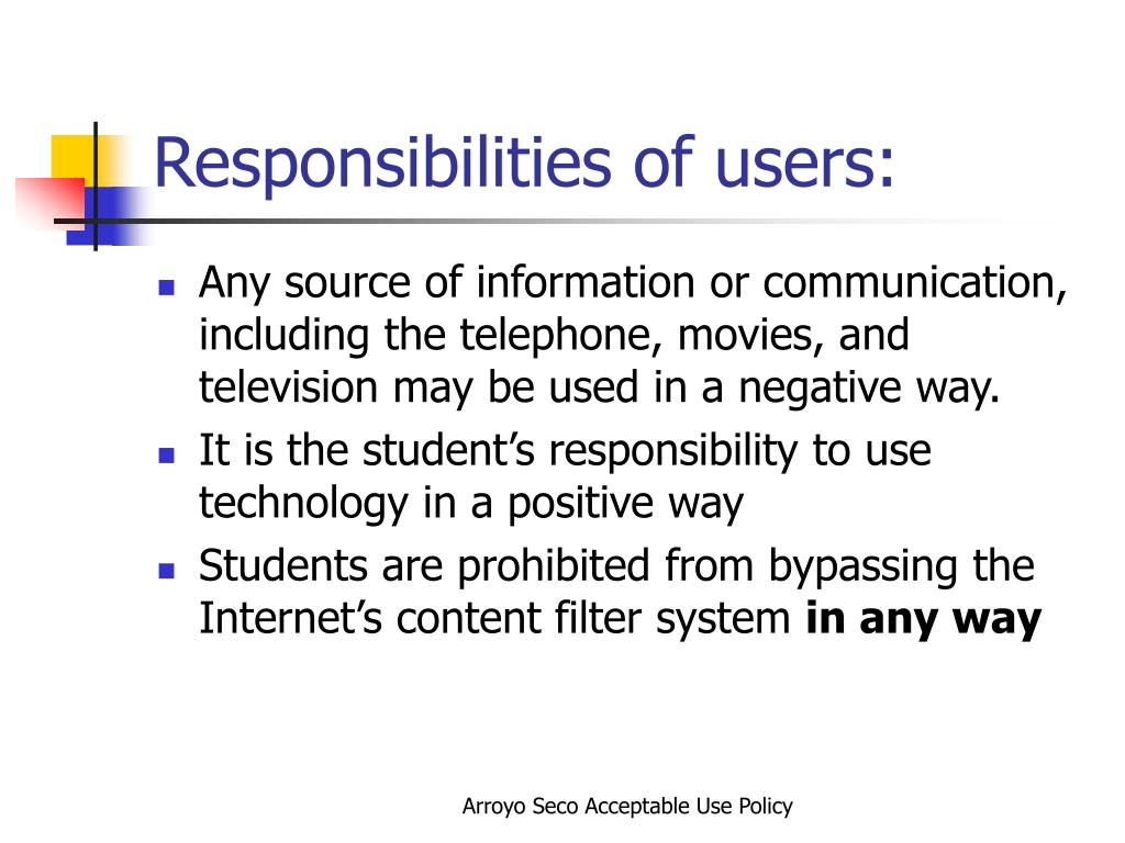 Responsibilities of users:
