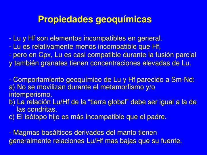 Propiedades geoquímicas