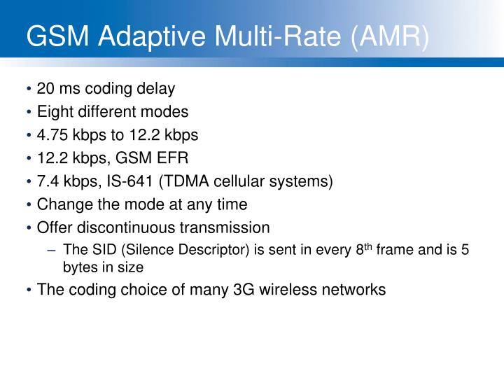 GSM Adaptive Multi-Rate (AMR)