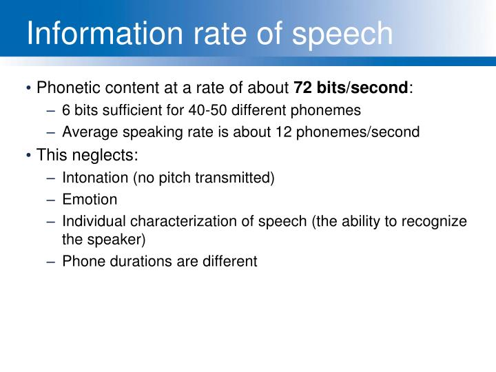 Information rate of speech
