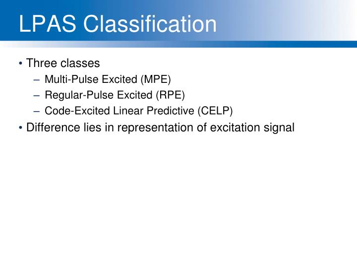 LPAS Classification