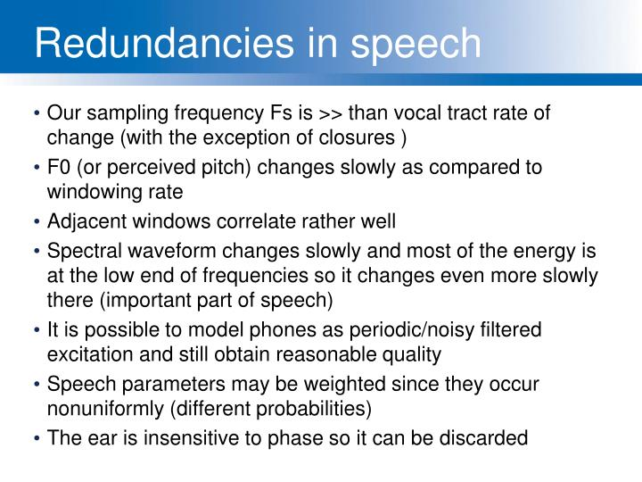 Redundancies in speech
