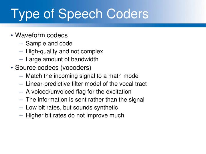 Type of Speech Coders