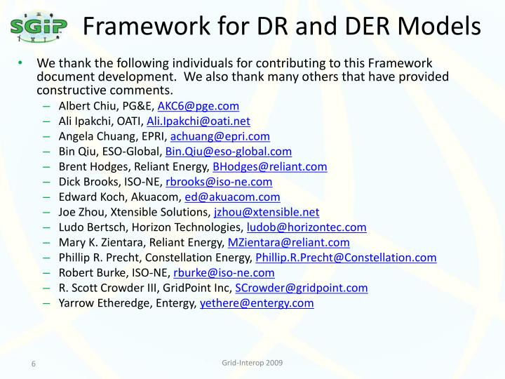 Framework for DR and DER Models