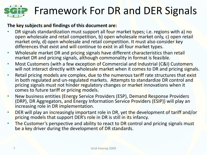 Framework For DR and DER Signals