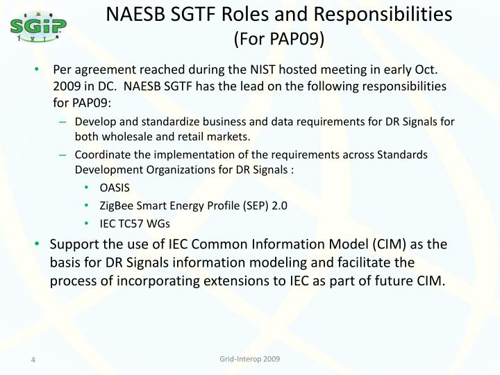 NAESB SGTF Roles and Responsibilities