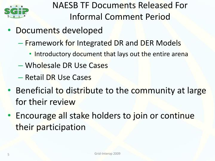 NAESB TF Documents Released For