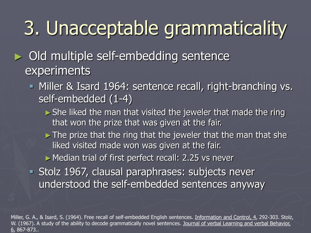 3. Unacceptable grammaticality