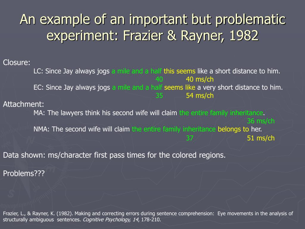 An example of an important but problematic experiment: Frazier & Rayner, 1982