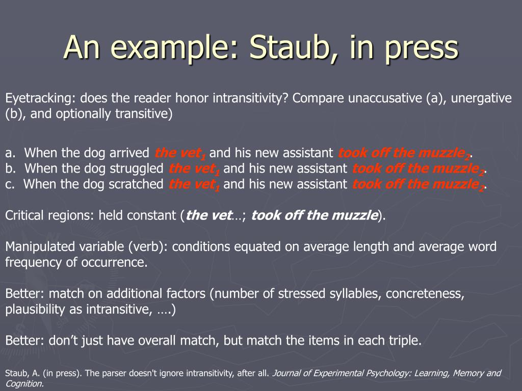 An example: Staub, in press