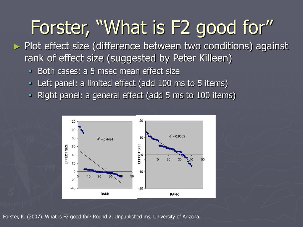 "Forster, ""What is F2 good for"""