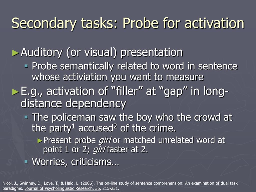 Secondary tasks: Probe for activation