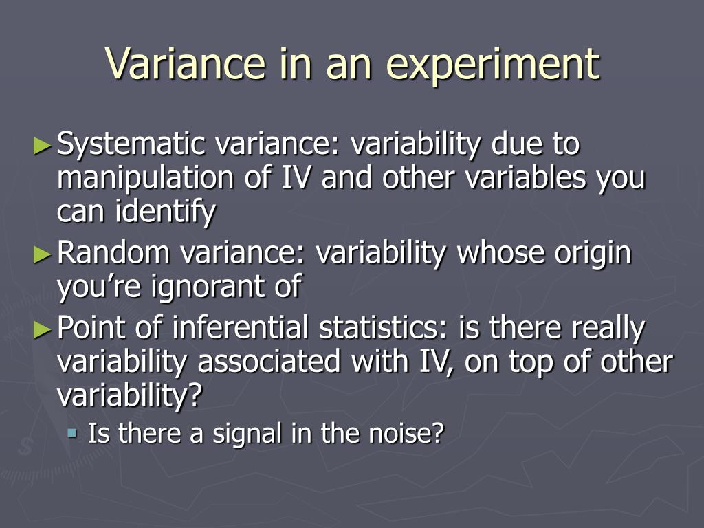 Variance in an experiment