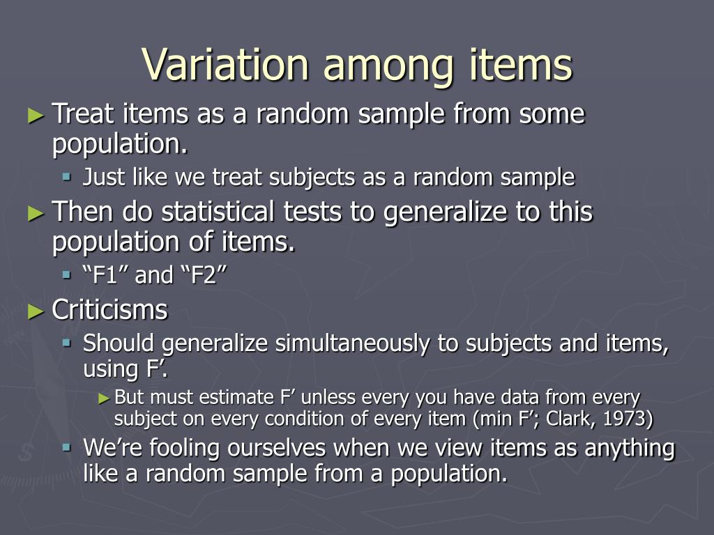 Variation among items