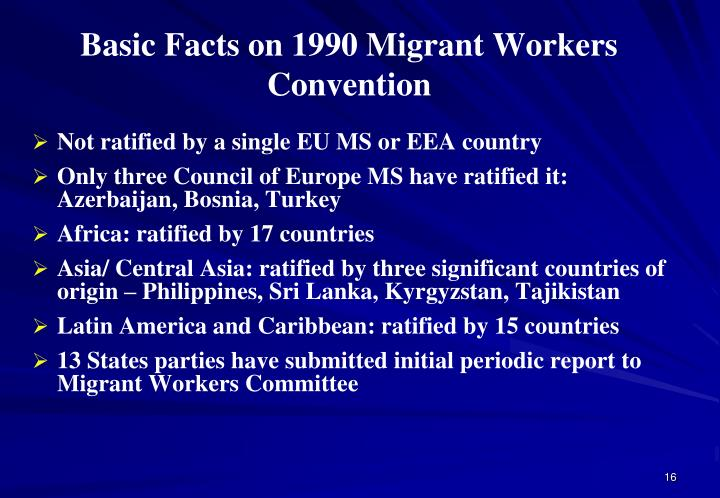Basic Facts on 1990 Migrant Workers Convention