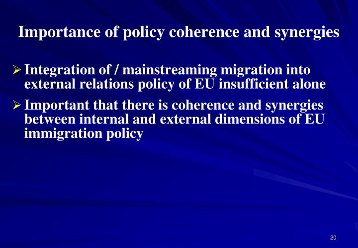 Importance of policy coherence and synergies