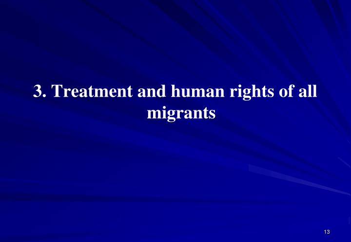 3. Treatment and human rights of all migrants