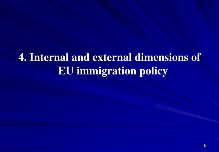 4. Internal and external dimensions of EU immigration policy
