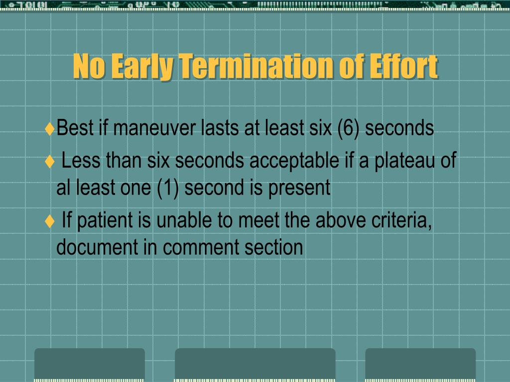 No Early Termination of Effort