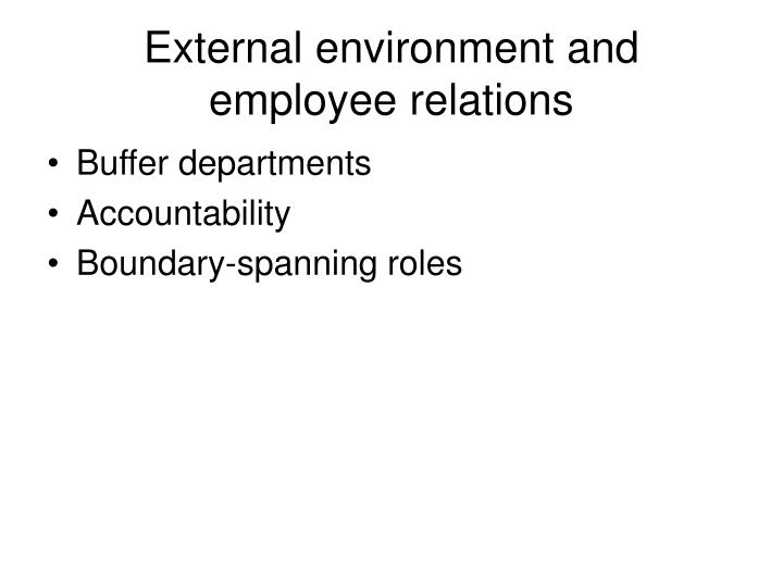 External environment and employee relations