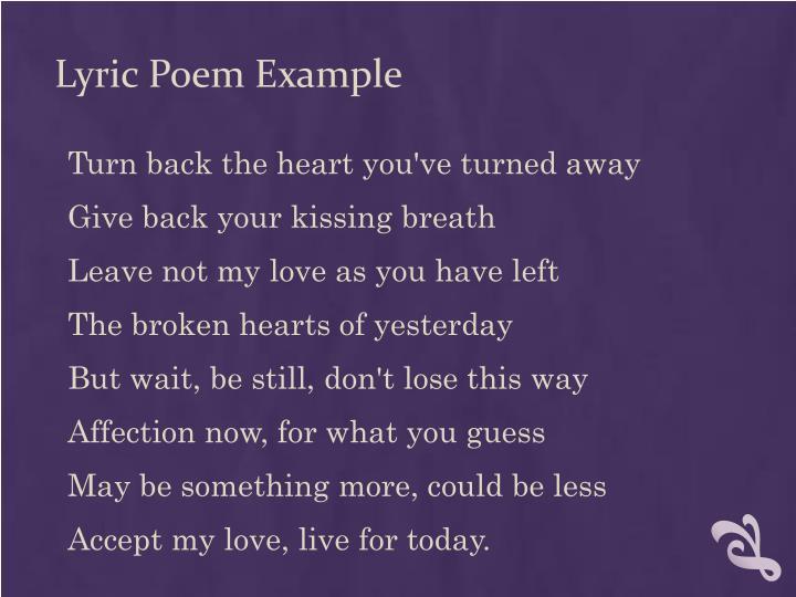 Lyric Poem Example