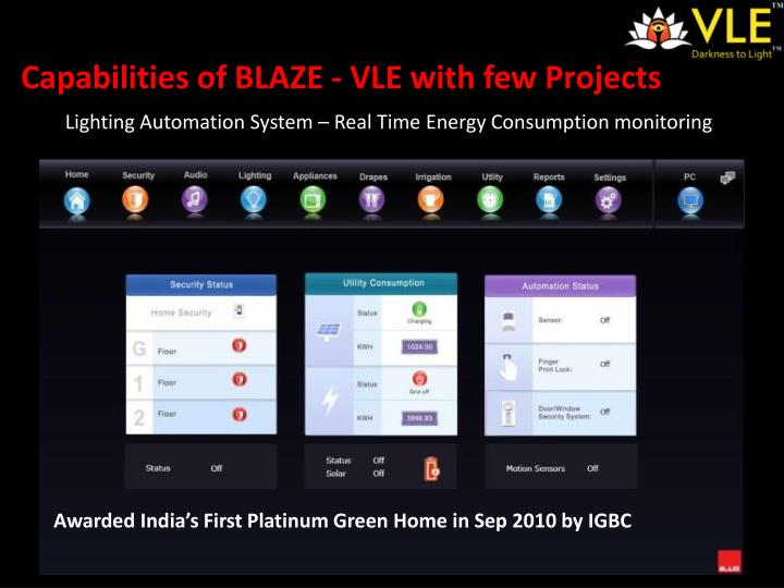 Capabilities of BLAZE - VLE with few Projects