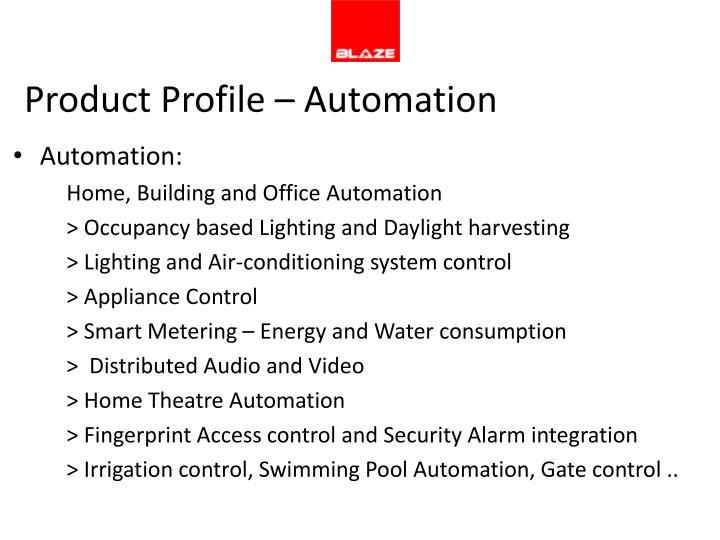Product Profile – Automation