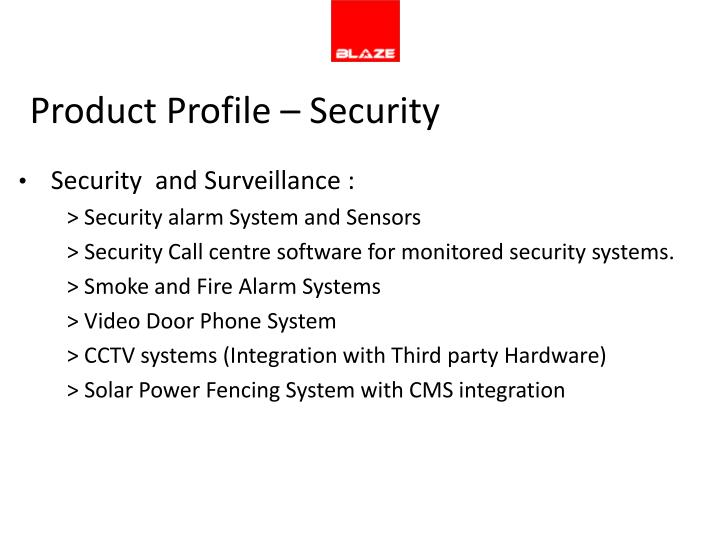 Product Profile – Security