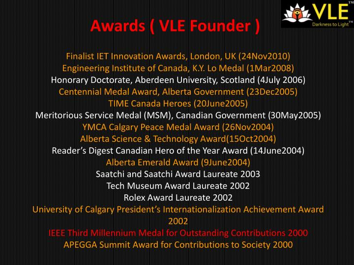 Awards ( VLE Founder )