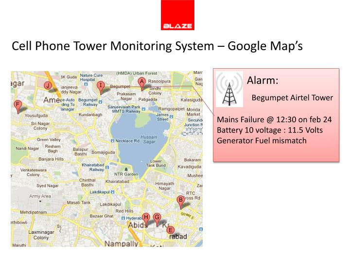 Cell Phone Tower Monitoring System – Google Map's