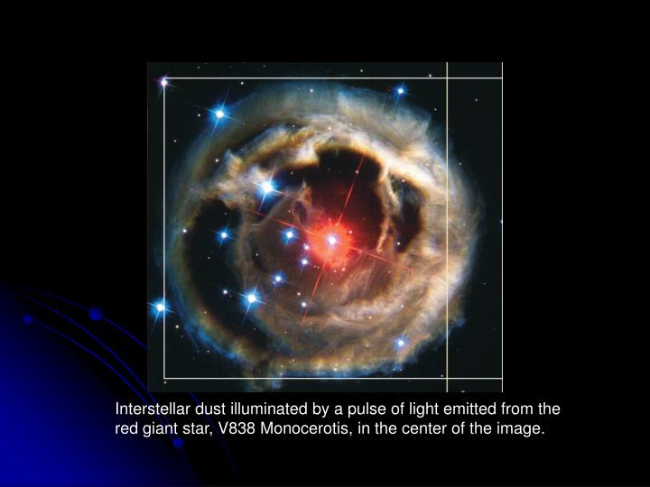 Interstellar dust illuminated by a pulse of light emitted from the red giant star, V838 Monocerotis,...