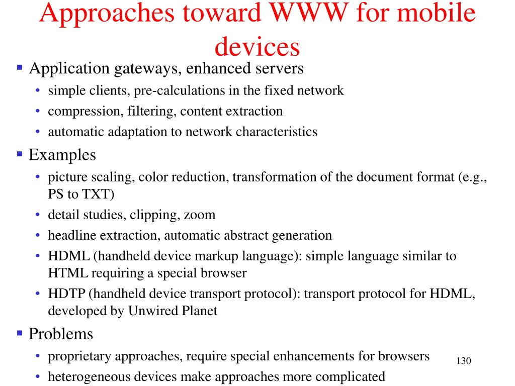 Approaches toward WWW for mobile devices