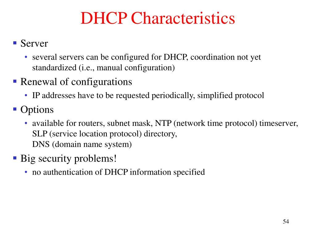 DHCP Characteristics