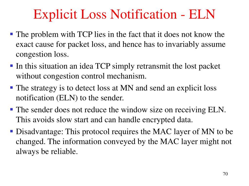 Explicit Loss Notification - ELN