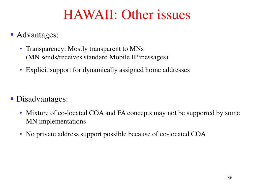 HAWAII: Other issues