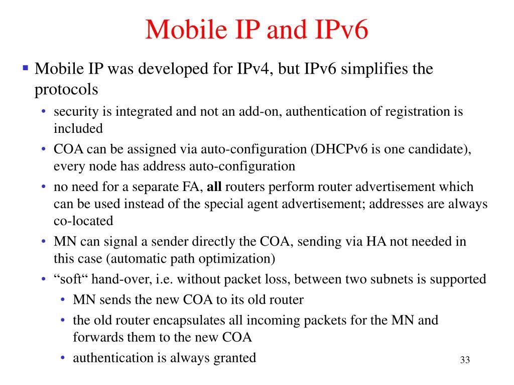 Mobile IP and IPv6