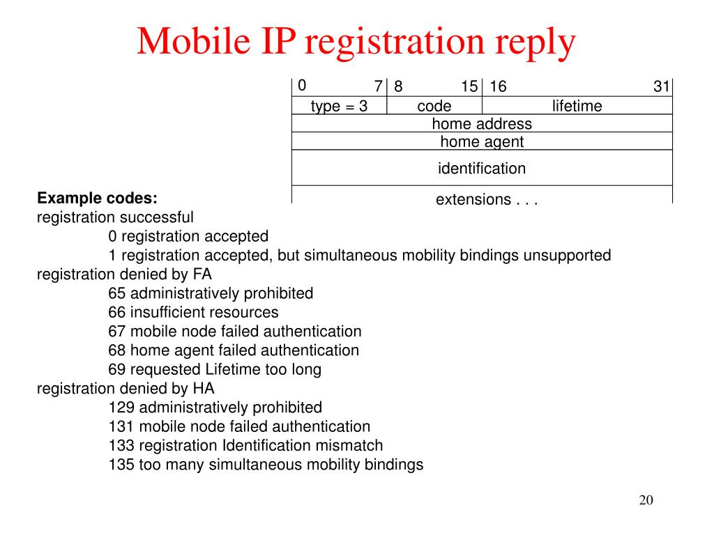 Mobile IP registration reply