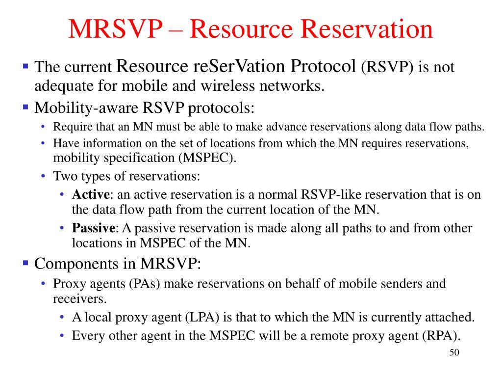 MRSVP – Resource Reservation