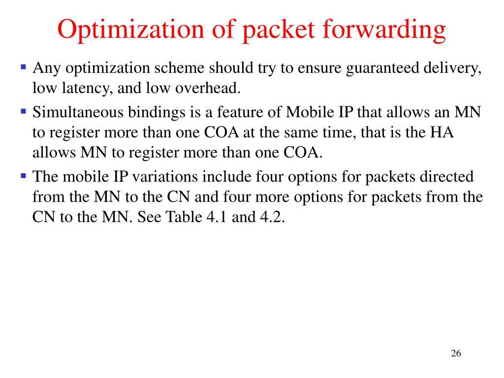 Optimization of packet forwarding