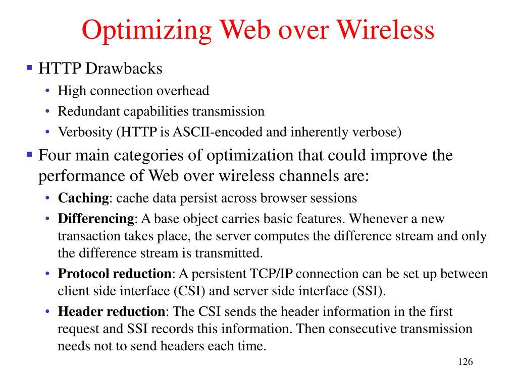 Optimizing Web over Wireless