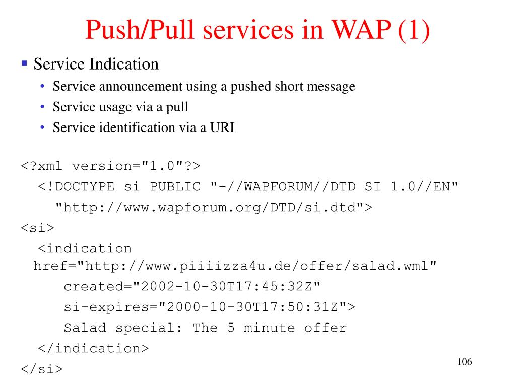 Push/Pull services in WAP (1)